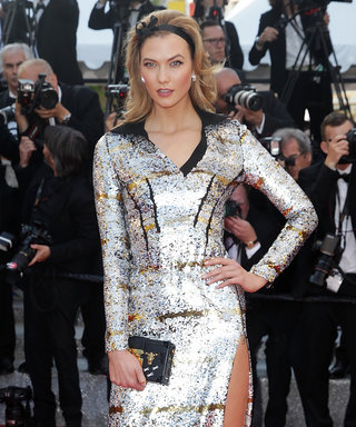 Karlie Kloss Poses in a Dramatic, Ultra Metallic Louis Vuitton Dress at Cannes