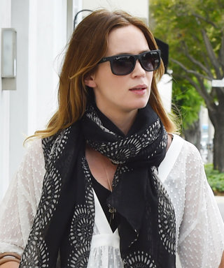 Emily Blunt Dresses Her Growing Baby Bump in Chic BlackandWhite