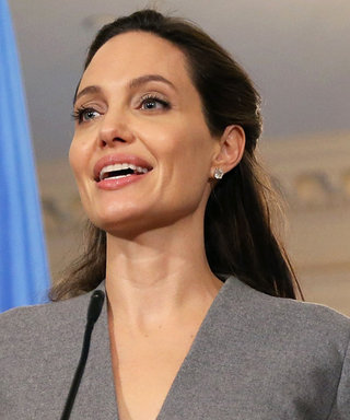Angelina Jolie Owns the Gray Power Suit for Her World Refugee Day Speech