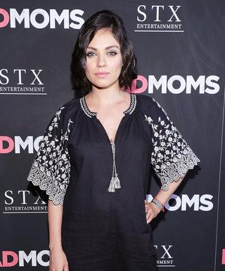 Pregnant Mila Kunis Wears a Bump-Hugging Black Jumpsuit at the Bad Moms Premiere