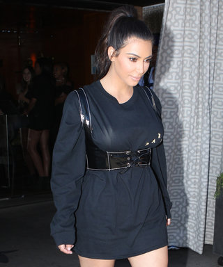 Kim Kardashian West Transforms a Long-Sleeve Tee Into a Dress with a Leather Bustier