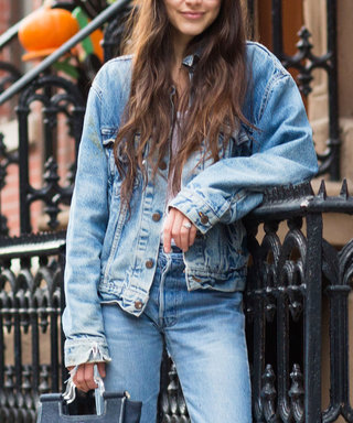 NEW YORK, NY - NOVEMBER 23: Writer and founder of Definer app Felicity Sargent wears a vintage Levi's denim jacket, Club Monaco t-shirt, vintage Redun jeans, Chanel flats, and Courrges bag in Chelsea on November 23, 2014 in New York City.