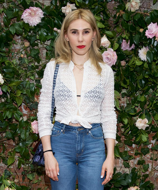 Zosia Mamet Pairs a Sheer Blouse and Black Bralette​ with Boyfriend Jeans