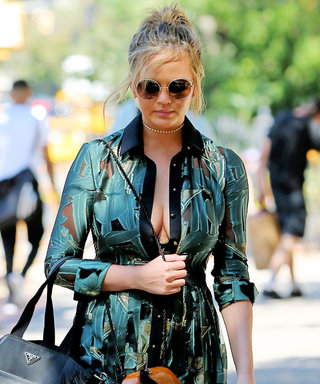 Chrissy Teigen Flashes Her Lacy Bra While Out to Lunch with John Legend