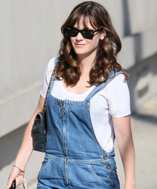 Zooey Deschanel Makes Rare Street Style Appearance in Zippered Overalls