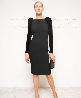 Uma Thurman Exudes Glamour in a LBD at Tom Ford's NYFW Show