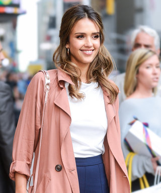 Jessica Alba Is the Picture of Fall Perfection in Flared Trousers and a Peach Trench