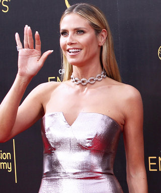 Heidi Klum Was Red-Carpet Perfection in a Liquid Silver Gown at the Creative Arts Emmy Awards