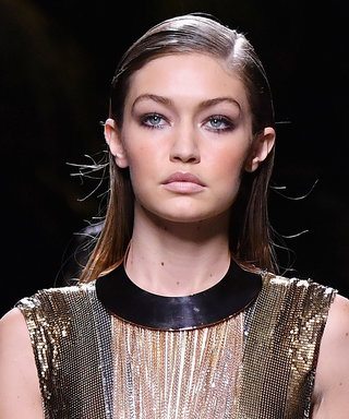 Gigi Hadid Hits the Balmain Runway in an Ultra Sparkly Metallic Party Dress