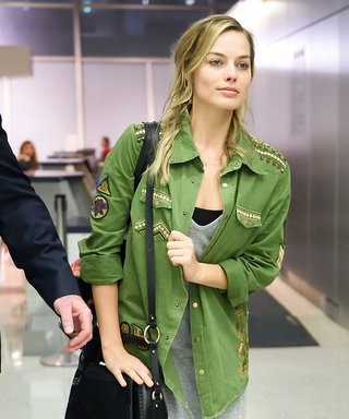 Margot Robbie Shows Off Her Natural Beauty (and Radiant Skin!) Making Her Way Through JFK