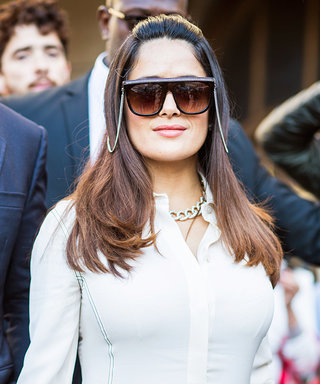Salma Hayek-Pinault Wows in Futuristic Sunglasses and a LWD at Stella McCartney's PFW Show