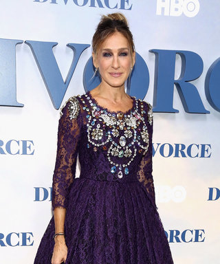 Sarah Jessica Parker Stuns in a Bejeweled Purple Lace Number While Having a Mini SATC Reunion