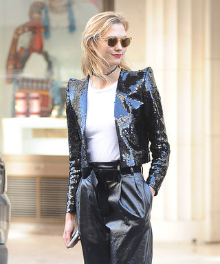 Karlie Kloss Wears a Sequin Power Shoulder Jacket in Paris