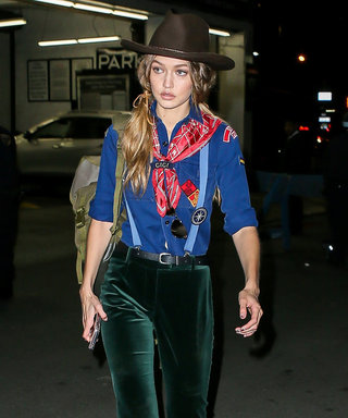 New York, NY - New York, NY - Model of the moment, Gigi Hadid, is seen heading out of her NYC apartment this evening in a Halloween costume that is bound to turn some heads and prompt some questions. AKM-GSI 31 OCTOBER 2016