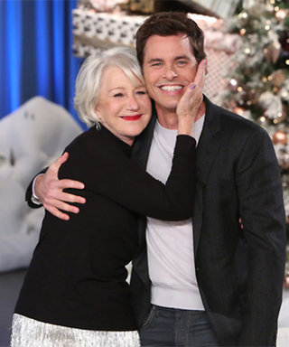James Marsden's Celebrity Crush Helen Mirren Gives Him a Kiss