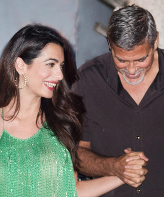 Amal Clooney Turns Heads in a Shimmery Green Gown for Date Night