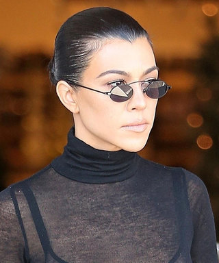 Kourtney Kardashian Makes the Turtleneck Sexy with Peekaboo Lace Bra
