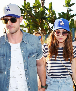 Justin Timberlake and Jessica Biel Twin in Matching Dodgers Hats at the World Series