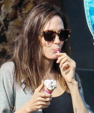 Angelina Jolie Eats Ice Cream During Peak Sweater Weather, Because Why Not?