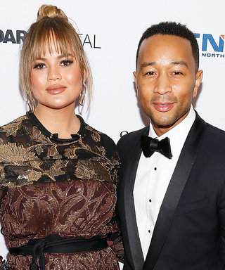 Chrissy Teigen's Baby Bump Makes Its Red Carpet Debut in Waist-Cinching Gown