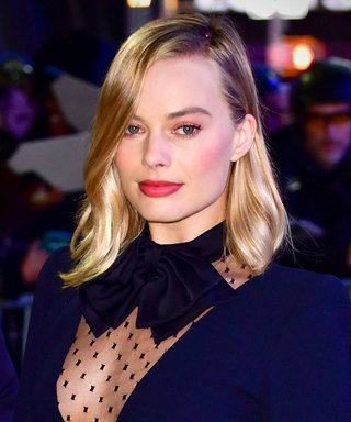 Margot Robbie's Minidress Has a Plunging Sheer Panel That's Ridiculously Chic