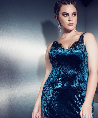 blue velvet dress with lace trim