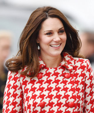 Pregnant Kate Middleton Radiates in a Red Houndstooth Coat During Swedish Tour