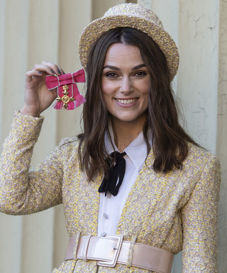 Keira Knightley Sports a Chanel Tweed Top Hat as She Receives Honor from Prince Charles
