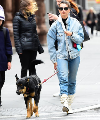 Emily Ratajkowski in Levi's Shearling Denim Jacket