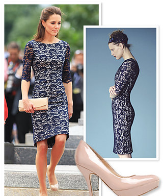 Duchess Catherine's Tour Outfits: Her Navy Lace Dress Details!