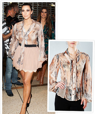 Found It! Kim Kardashian's Printed Blouse and Pink Skirt