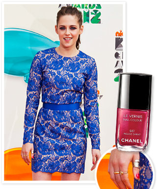 Try It Now: Red Nail Polish With a Blue Dress