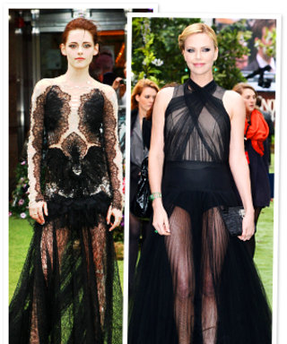 Charlize Theron and Kristen Stewart's Sheer Black Gowns: Which Do You Prefer?