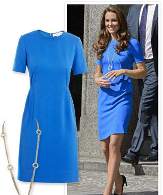 Kate Middleton's Blue Shift and Diamond Necklace: All the Details!