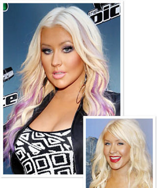 Christina Aguilera Gets Purple Highlights