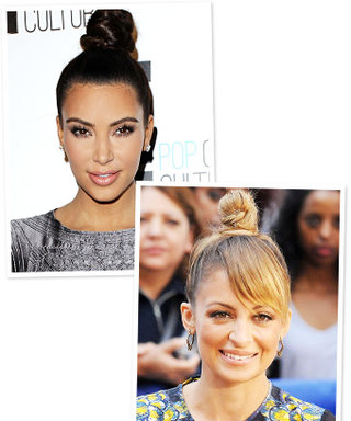 Kim Kardashian and Nicole Richie Sport Spooled Top Knots