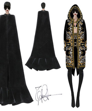 "Givenchy Designed Rihanna's ""Diamonds World Tour"" Costumes: See the Sketches"