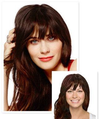Try on Zooey Deschanel's Cover Hairstyle