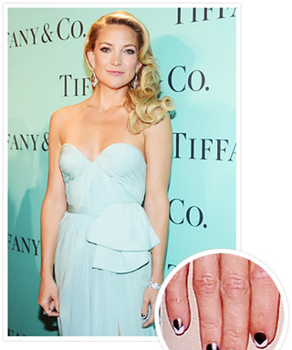 Manicure We Love: Kate Hudson's Chevron Gray-and-Pink Nail Art