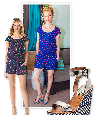Found It! Elizabeth Banks's Printed Wedge Sandals and Flirty Romper