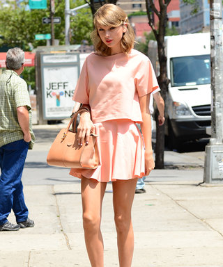 Pretty in Peach! Taylor Swift Flaunts Her Endless Legs in New York