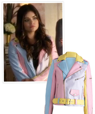 Exclusive Details via Possessionista: Lucy Hale's Pastel Moto Jacket From Last Night's Pretty Little Liars
