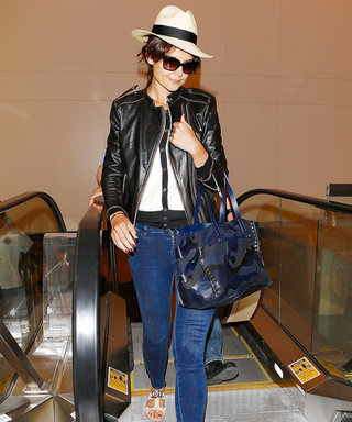 Katie Holmes's Jet-Setting Style Is Jean-ius