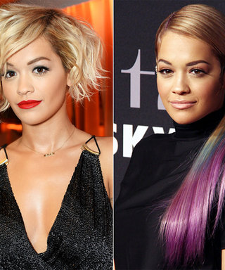 Rita Ora Debuts Blue and Purple Dip-Dyed Extensions