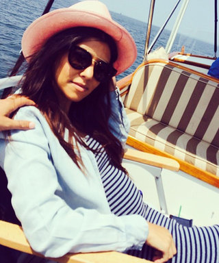 Expectant Mom Kourtney Kardashian Takes on Nautical Stripes with a Cute Maxi Dress