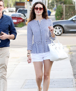 Emmy Rossum Does Menswear Right in a Perfect Pair of Patent Oxfords