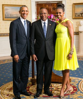 Michelle Obama Stuns in a Neon Yellow Dress and Chic Topknot at White House Dinner