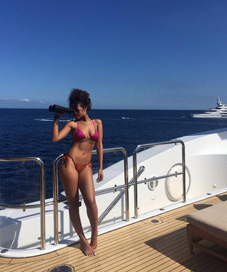 Rihanna Brightens Up the Italian Coast in Two Colorful Bikinis