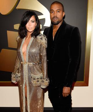 Kim Kardashian and Kanye West at 2015 Grammy Awards