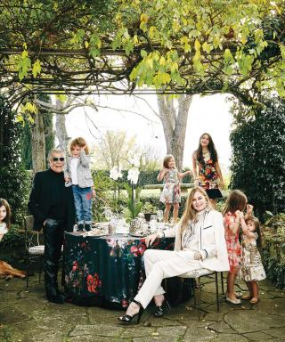Roberto Cavalli at home with his family